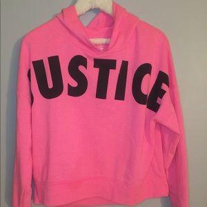 Justice 18/20 Pink Hooded Crop Sweatshirt